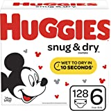 Huggies Snug & Dry Baby Diapers, Size 6 (fits 35+ lb.), 128 Count, ONE MONTH SUPPLY (Packaging May Vary)