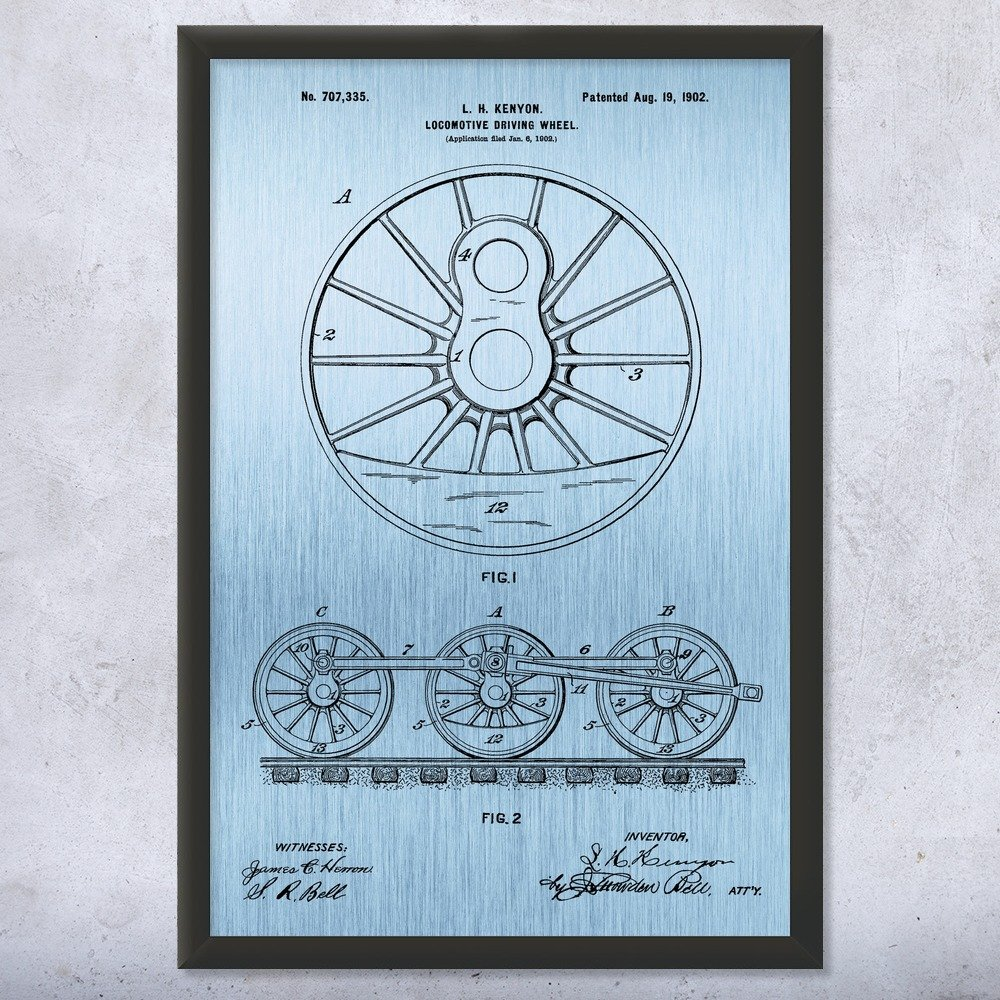 Patent Earth Framed Locomotive Train Driving Wheel Print, Engineer Gift, Railway Worker, Train Blueprint, Vintage Railroad