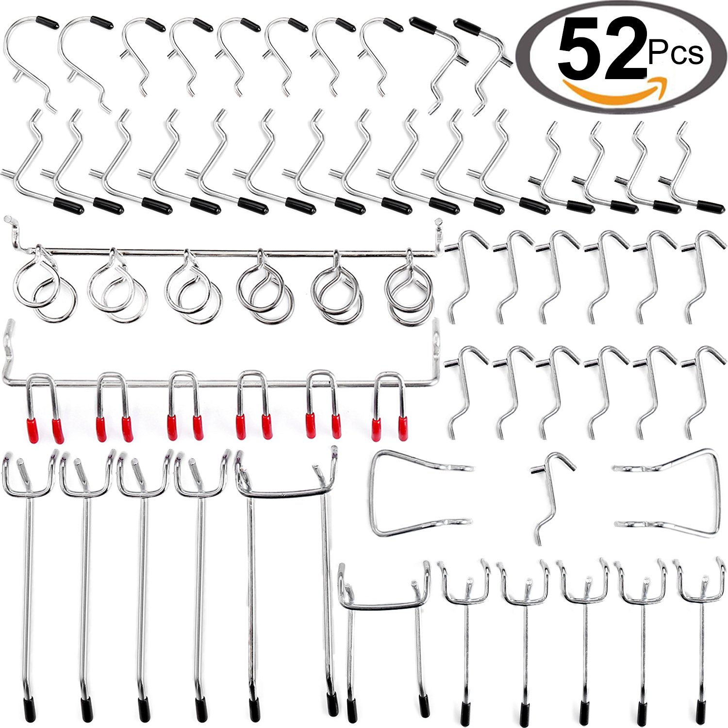 Wangday Pegboard Hooks Accessories, 52-Piece Peg Board Hook Attachments Set