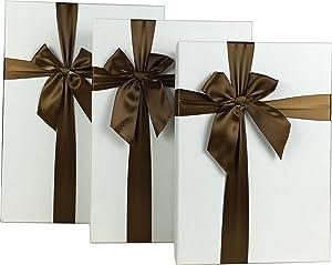 Cypress Lane Rectangular Rigid Gift Box with Ribbon, a Nested Set of 3 (White)