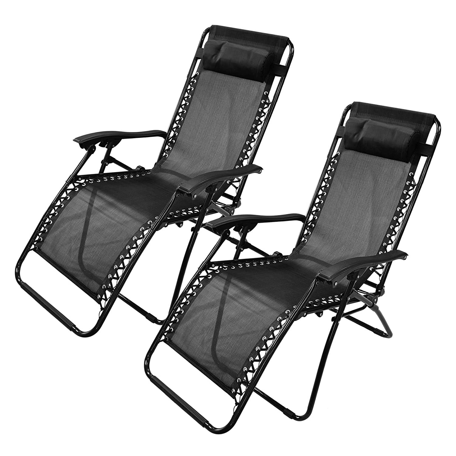 ASAB Heavy Duty Textoline Zero Gravity Deck Chair Recliner - Weatherproof Powder Coated Steel Frame and Mesh Bed Fabric - Beach Folding Sun Lounger Outdoor Garden Patio Conservatory - Black - 1 Chair