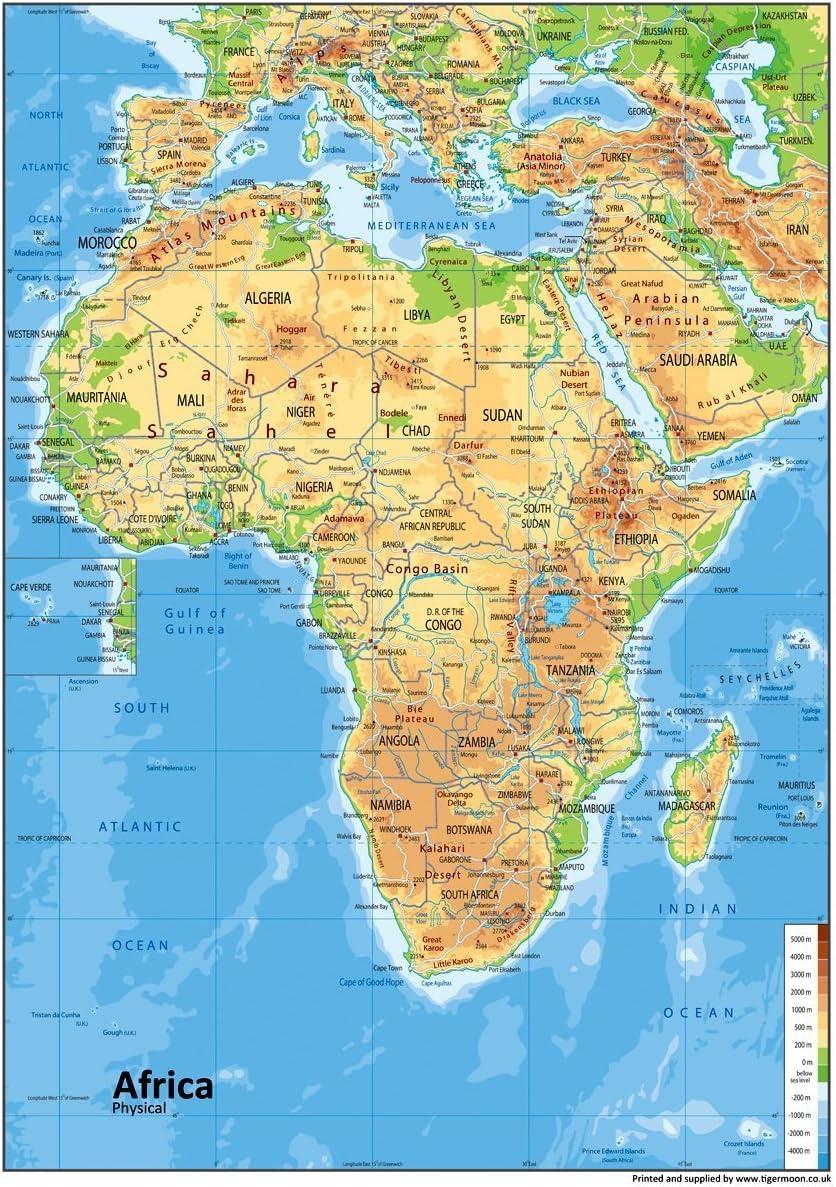 Immagini Cartina Fisica Africa.Africa Mappa Fisica Carta Plastificata A1 Misura 59 4 X 84 1 Cm Amazon It Cancelleria E Prodotti Per Ufficio