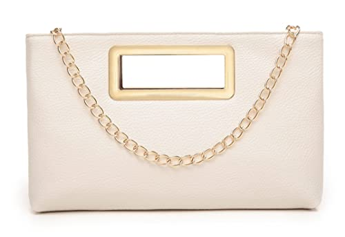 e48ef58ea9 Clutch Purse for Women Evening Party Tote with Shoulder Chain Strap Lady  Handbag Beige