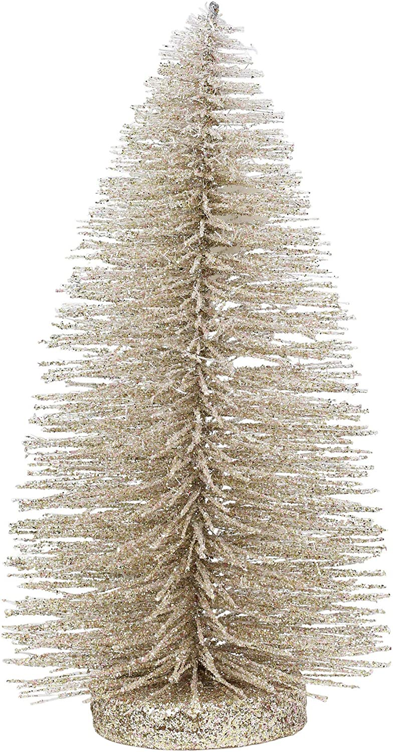 Department 56 Christmas Basics Glitter Tree Figurine, 8.7 Inch, Champagne