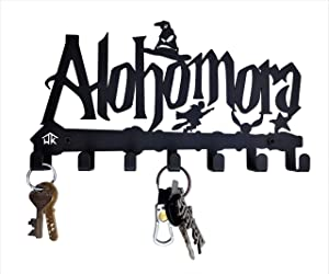 HeavenlyKraft Decorative Metal Key Hook Black Color Metal Wall Mounted Key Holder with 7 Hooks 27 X 15 X 2.5 cm Key Rack for Entryway Key Cabinet/Children Room Décor