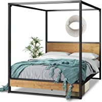 Zinus Suzanne Double Ironline Canopy Metal and Wood Four Poster Bed Frame - Industrial
