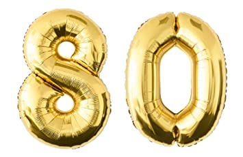 "Folienballon 80 cm GOLD /""40/"" Zahlenballon Luftballon Geburtstag Helium Zahl"