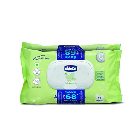 Chicco Baby Moments Wipes Fliptop Bi-Pack(72X2)144 Pcs