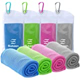 """[4 Pack] Cooling Towel (40""""x12""""), Ice Towel, Soft Breathable Chilly Towel, Microfiber Towel for Yoga, Sport, Running, Gym, Wo"""