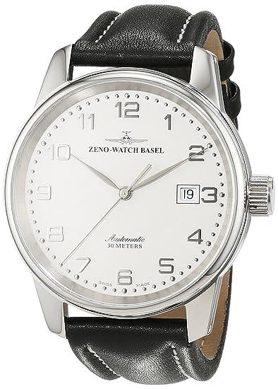 Zeno Watch Basel Pilot Classic 6554-e2 - Reloj de caballero automático, correa de piel color negro: Amazon.es: Relojes