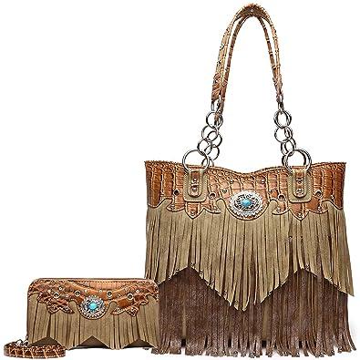 Amazon.com  Western Style Fringe Handbag Concealed Carry Purse Women  Country Tote Bag Handbag Shoulder Bag Wallet Set (Tan Set)  Shoes 59f32ed807418
