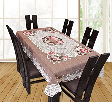 Yellow Weaves™ Designer Dining Table Cover Beige Net Cloth 6 Seater 60x90 Inches (Exclusive Design)