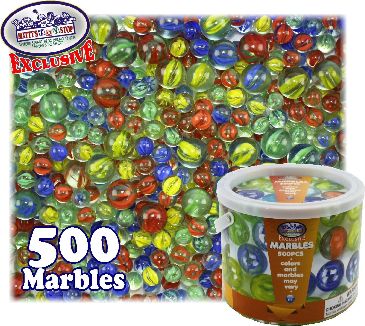 Matty's Toy Stop Deluxe 500 Pieces (7.5 Pounds) of Cat's Eyes Marbles & Shooters with Exclusive Storage Bucket