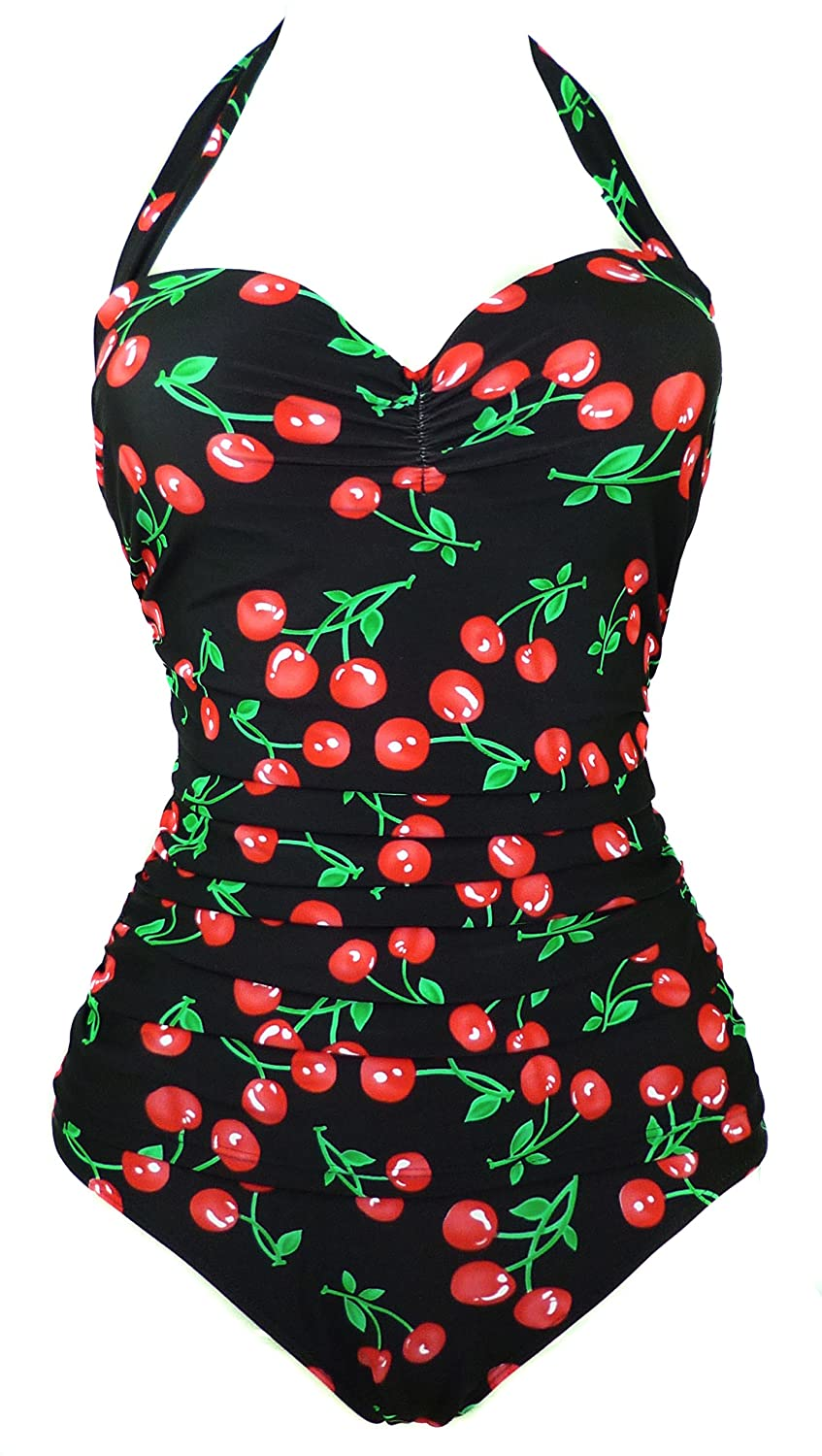 COCOSHIP Womens 50s Retro Floral Swimsuit Ruching One Piece Vintage Swimwear Pin Up Monokinis(FBA)