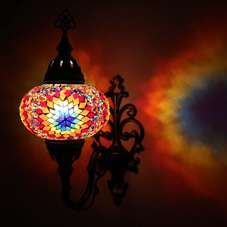 murale Lavage lumière turque mosaïque Applique lampe Transparent marocain Ottoman Style lampe murale pour votre maison, bureau, restaurant, café Décoration lumière/côté Grande ENVA