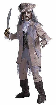 Amazon.com: Men\'s Zombie Pirate Ghost Costume, Gray/Beige, One ...