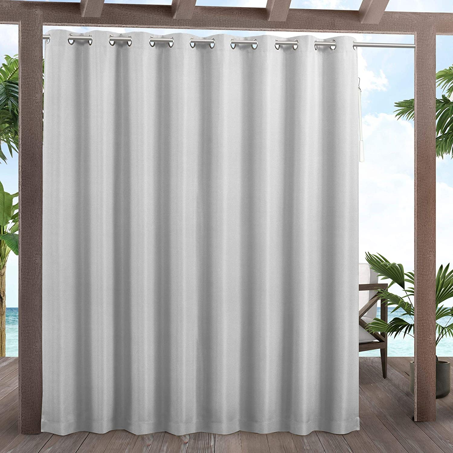 Exclusive Home Curtains Cabana Patio Light Filtering Grommet Top Curtain Panels, 108x84, Cloud Grey,YA012637DSEHC1 020