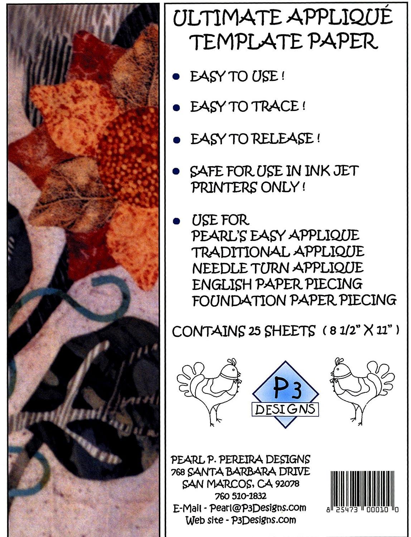 P3 Designs Applique Template Freezer Paper 6-1//2 x 13-1//2