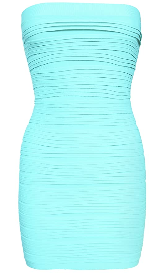 1c5a53cbf0 KMystic Strapless Tube Dress and Pencil Midi Bodycon Skirt in One (Beige)  at Amazon Women's Clothing store: