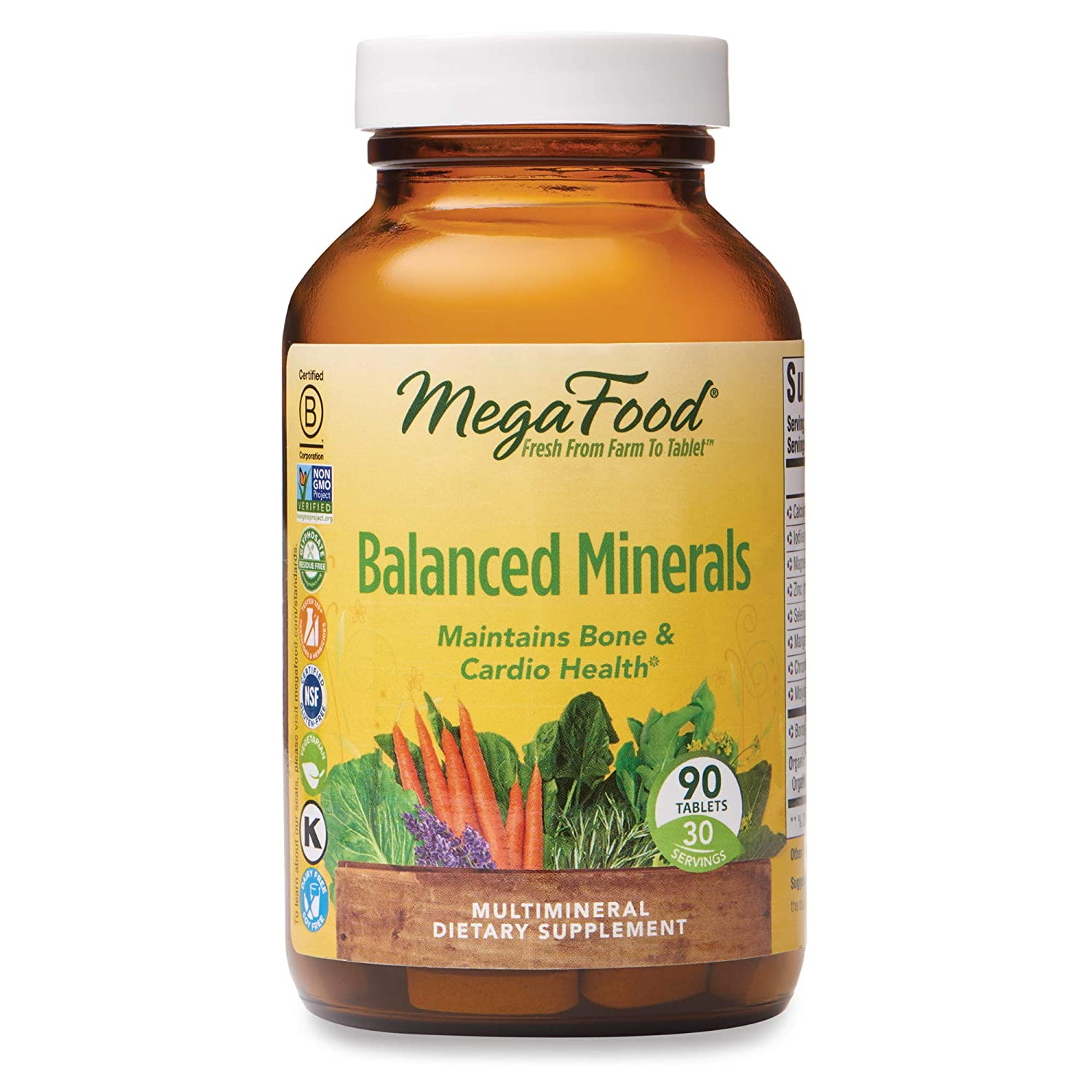 MegaFood, Balanced Minerals, Helps Maintain Bone and Cardiovascular Health, Multivitamin Supplement, Gluten Free, Vegetarian, 90 Tablets (30 Servings) (FFP)