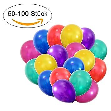 50 - 100 globos metalizados, aptos para helio, de calidad, para boda, día de San Valentín, cumpleaños y más
