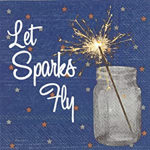 Celebrate the Home Patriotic 3-Ply Paper Cocktail Napkins, Let Sparks Fly, 20 Count