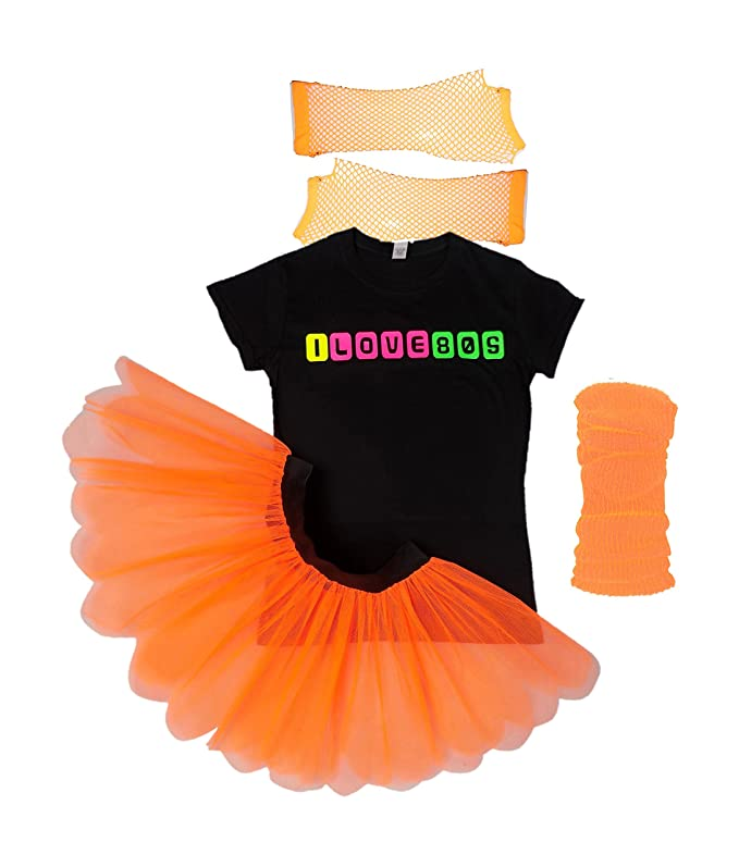 I Love 80's Neon Fancy Dress 80s Night Fluorescent UV Tutu Skirt Set (Small, Pink)