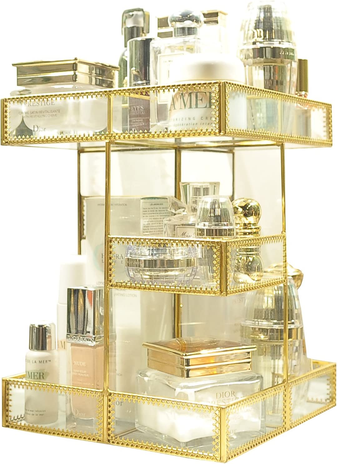 360 Degree Rotation Makeup Organizer Antique Countertop Cosmetic Storage Box Mirror Glass Beauty Display, Gold Spin Large Capacity Holder for Brushes Lipsticks Skincare Toner 81sbT2Byu2BnLSL1500_