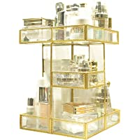 360 Degree Rotation Makeup Organizer Antique Countertop Cosmetic Storage Box Mirror Glass Beauty Display, Gold Spin…