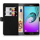 Samsung Galaxy A5 (6) 2016 Lederhülle | JAMMYLIZARD Handyhülle [ Luxuriöse Series ] Ledertasche Flip Case Cover Hülle Leder Schutzhülle mit Kartenfach, Schwarz