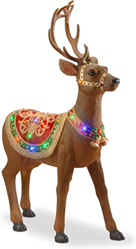 National Tree 49 Inch Fiberglass Standing Deer with 30 Multicolored LED Lights BG-19245AR1
