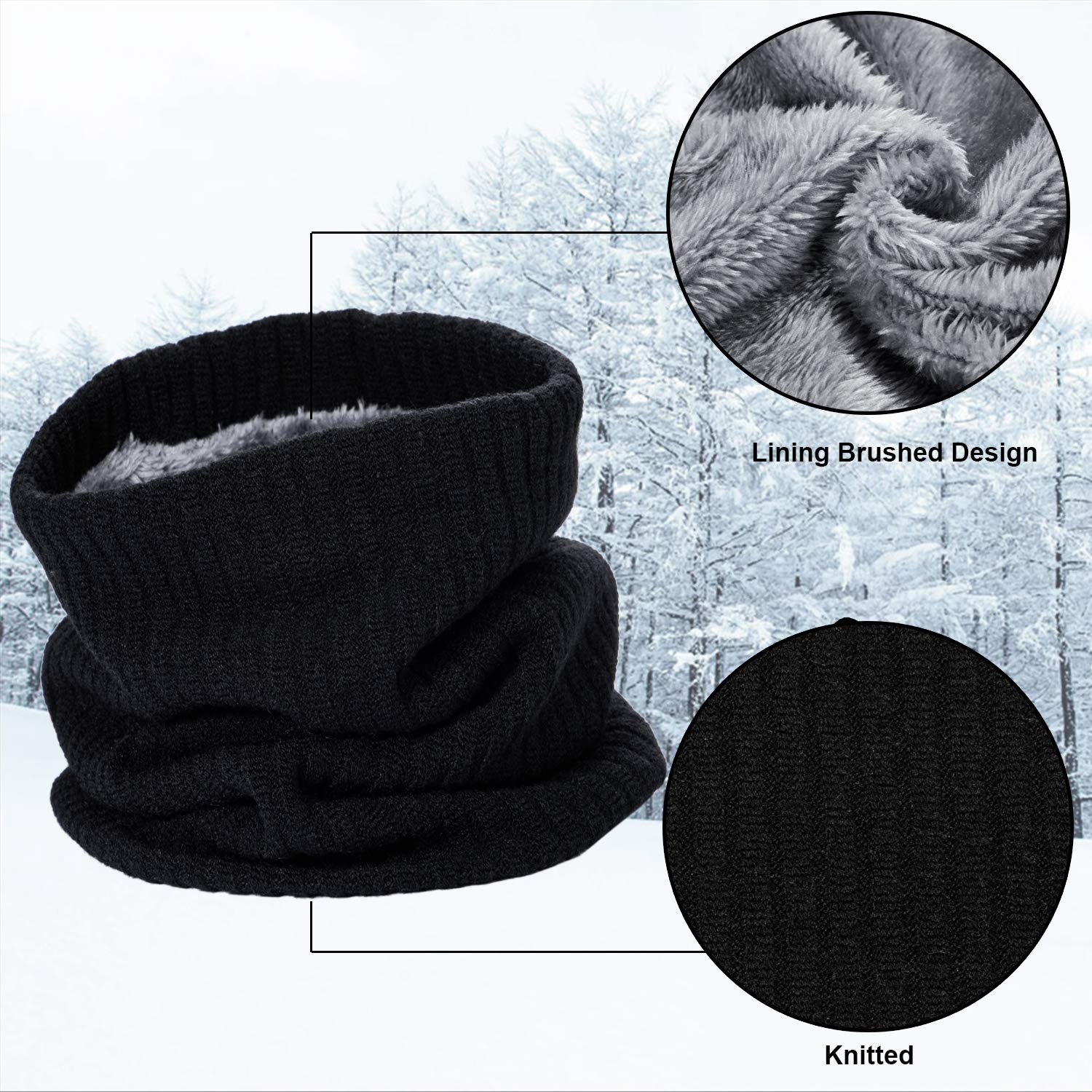 WOGREZ Men and Women Knitted Scarf Winter Warm Neck Warmer Thermal Circle Infinity Scarf