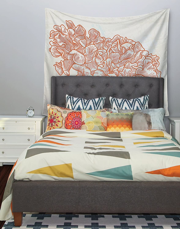 68 X 80 Kess InHouse Sam Posnick Lettuce Coral Orange Beige Wall Tapestry