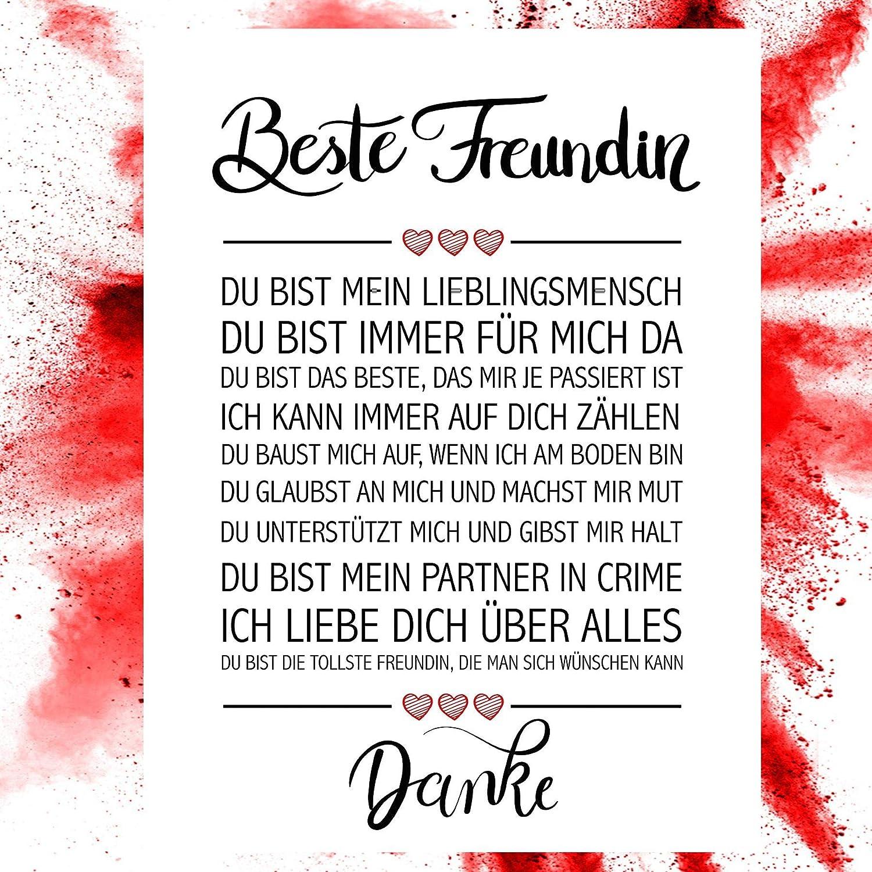 Close Up Beste Freundin Danke Zitate Poster Deko Geschenk Zum Geburtstag Weihnachten Jeden Tag 30 X 40 Cm Premium Qualität