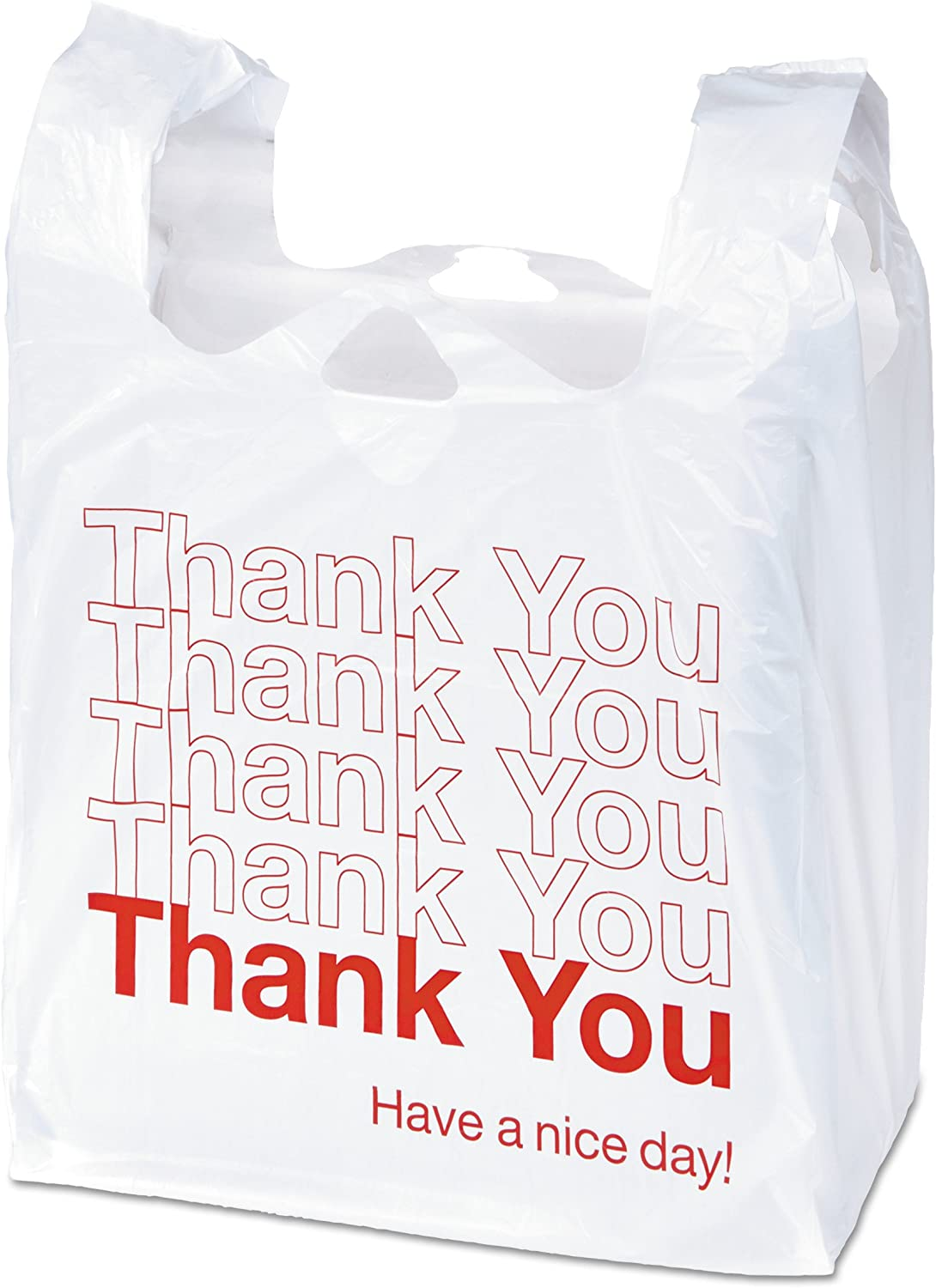 "Universal 63036 Plastic ""Thank You"" Shopping Bag, 11.5 x 3.15 x 22, 0.55 mil, White/Red (Box of 250)"