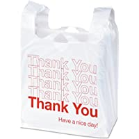 """Universal Plastic""""Thank You"""" Shopping Bag, White/Red, 11.5 x 3.15 x 22, 0.55 mil, 250 count, 63036"""
