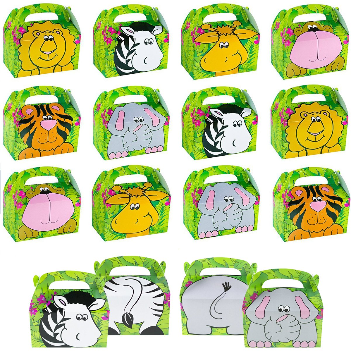 Safari Zoo Animal Party Favors 120 Piece Set Includes Treat Boxes and Enough Party Favors Birthday Bundle for 12 Kids Jungle Animal Party Supplies Pack by RBBZ party (Image #2)