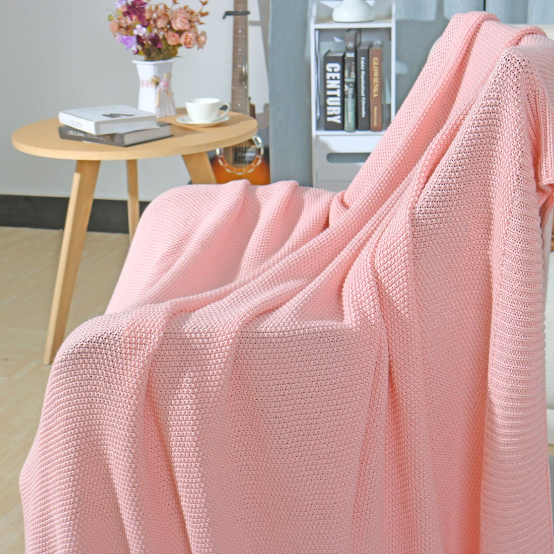 PICCOCASA 100/% Cotton Knit Throw Blanket,Lightweight Solid Decorative Sofa Throws Soft Pink Knitted Throw Blankets for Sofa Couch,50 x 60 50 x 60