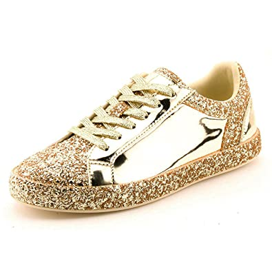 149ba0bb1537a7 Womens Sneaker Flats Fashion Sneaker Glitter Metallic Lace Up Sparkle Slip  On Street Casual Running Shoes
