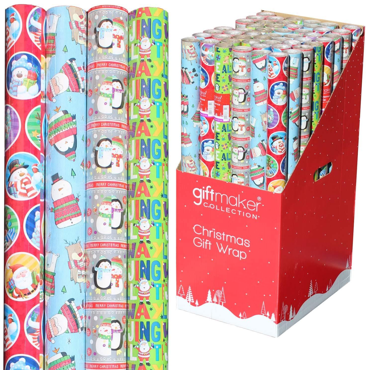 Geschenkpapier für Weihnachten, traditioneller traditioneller traditioneller Weihnachtsmann, Schneemann, Rentier, Pinguin, cooles Design B07JB4ZKXW | Haltbarkeit  e18281