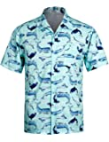 Men's Floral Hawaiian Shirt Short Sleeve Shark Printing Shirt