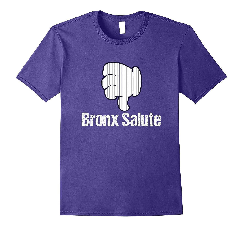 Bronx Salute Thumbs Down Pinstripe New York Baseball T-Shirt-T-Shirt