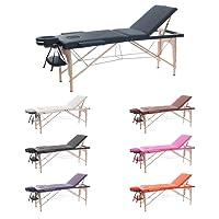 H-ROOT 3 Section Table de Massage Grande Canapé Lit Plinthe de Thérapie Salon Tatouage Reiki Massage Suédois Thérapeutique 13.5Kg (Crème)