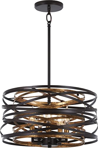 Minka Lavery Pendant Ceiling Lighting 4675-111 Vortic Flow, 5-Light 300 Watts, Dark Bronze