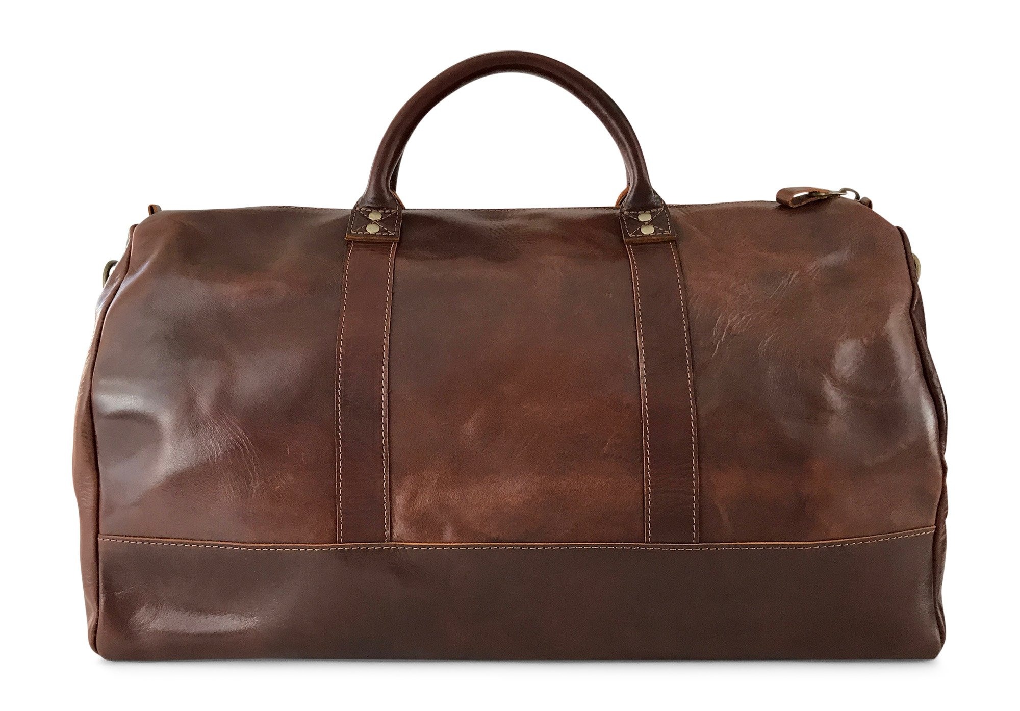 Vintage Full Grain Leather Duffle Bag & Weekend Carryall by Jackson Wayne (Vintage Brown) by Jackson Wayne (Image #2)