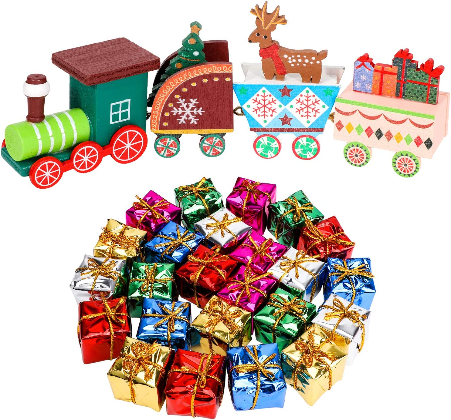 Konsait 25 Pack Christmas Tree Small Gift Boxes Hanging Decorations, Christmas Train Figurine Decor Mini Holiday Train Set,Christmas Miniatures for Crafts,Dollhouse Christmas Decorations Ornaments