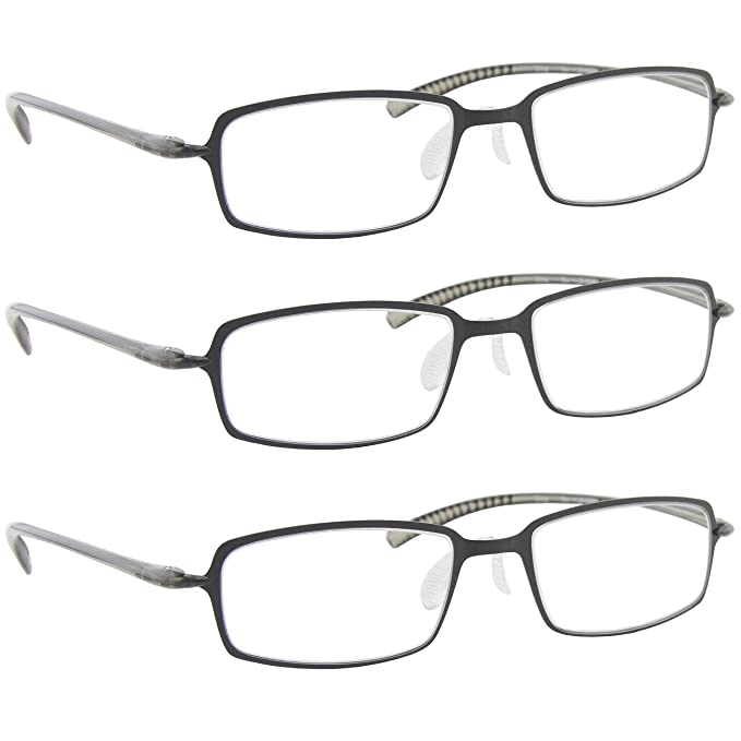 0562c3b70ed Amazon.com  Reading Glasses 1.00 3 Gunmetal (3 Pack) F508 TruVision ...