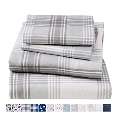 Extra Soft Plaid 100% Turkish Cotton Flannel Sheet Set. Warm, Cozy, Lightweight, Luxury Winter Bed Sheets. Belle Collection (Queen, Grey)
