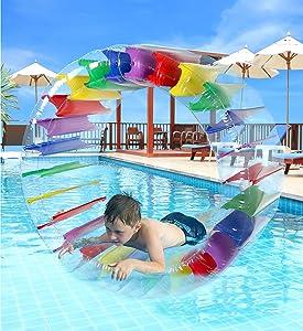 "Greenco Kids Colorful Inflatable Water Wheel Roller Float 52"" Diameter"