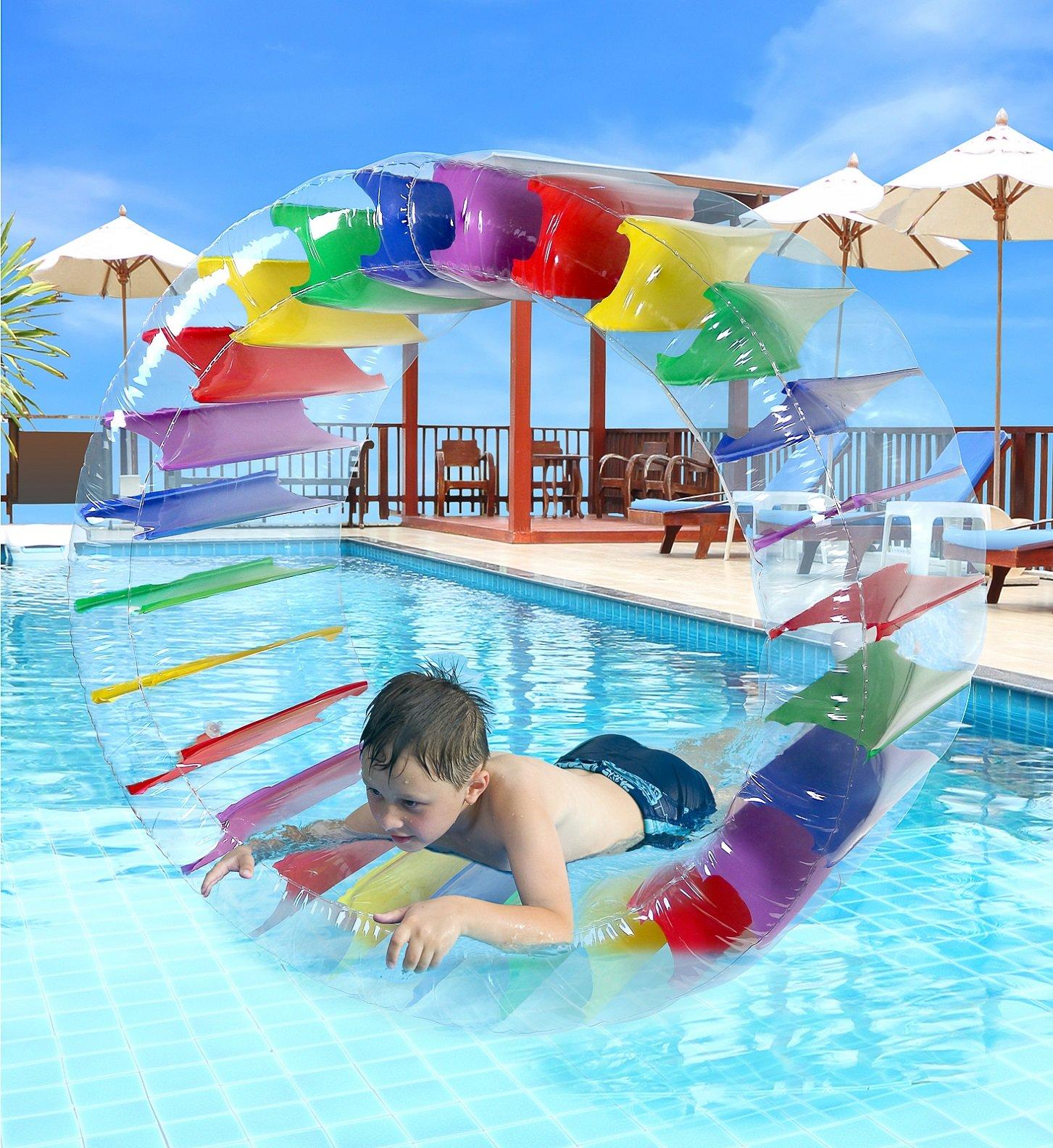 Greenco Kids Colorful Inflatable Water Wheel Roller Float 52'' Diameter
